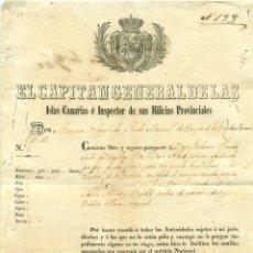Documentos antiguos: PASAPORTE FIRMADO POR CAPITAN GENERAL CANARIAS. TENERIFE-CUBA-LA HABANA. AÑO 1862. Lote 58154141