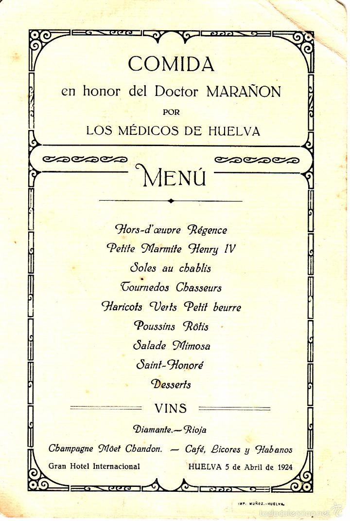 MINUTA DE LA COMIDA REALIZADA EN HONOR DEL DOCTOR MARAÑON POR LOS MEDICOS DE HUELVA - ABRIL 1924 (Coleccionismo - Documentos - Otros documentos)