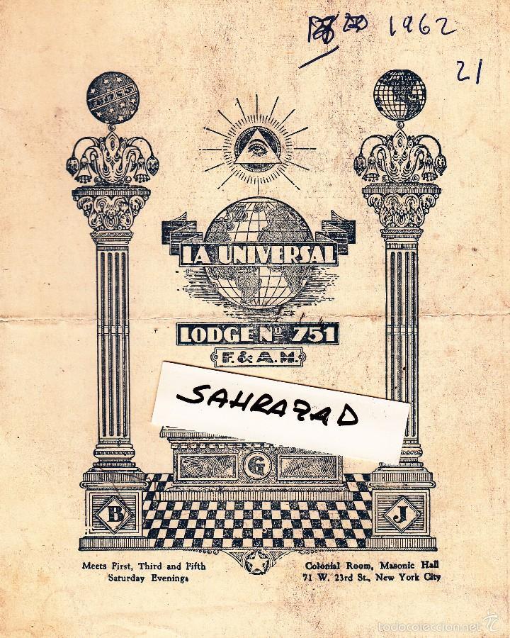FOLLETO ÚLTIMA TENIDA MITAD DEL AÑO LOGIA LA UNIVERSAL DE NUEVA YORK. 21 MAYO 1962 (Coleccionismo - Documentos - Otros documentos)