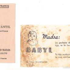 Documentos antiguos: PUBLICIDAD FARMACIA. BABYL Y CARNINE LEFRACQ. 8,5 X 14 CMS, 7 X 12 CM...VELL I BELL. Lote 58211442