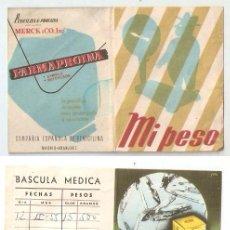 Documentos antiguos: PUBLICIDAD FARMACIA. 1955. TARJETA PESO.FARMAPROINA. PENICILINA. 6 X 7,8 CMS. CERRADA...VELL I BELL. Lote 58211730