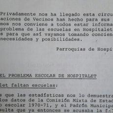 Documentos antiguos: CIRCULAR. PANFLETO. HOSPITALET. EL PROBLEMA ESCOLAR. ABRIL 1973. MOVIMIENTO VECINAL. ANTIFRANQUISMO. Lote 58252881