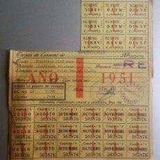 Documentos antiguos: TARJETA CONSUMO GASOLINA 1951 CON CUPONES CAMPSA RESTRICCION TARRAGONA REUS. Lote 58273171