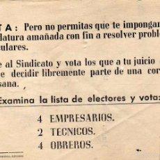 Documentos antiguos: VOTA PERO NO PERMITAS QUE TE IMPONGAN ... PROPAGANDA POLITICA VOTACIONES 1961. GRAFICAS RIBADEO. Lote 58298254