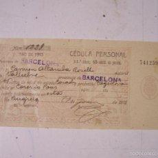 Documentos antiguos: CEDULA PERSONAL, AÑO 1913.. Lote 58374078