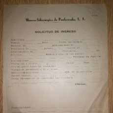 Documentos antiguos: SOLICITUD INGRESO MSP PONFERRADA. Lote 58384073