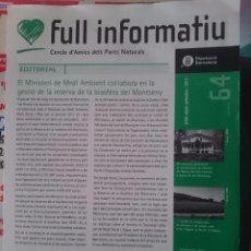 Documentos antiguos: FULL INFORMATIU CERCLE D´AMICS DELS PARCS NATURALS -JULIOL-AGOST-SETEMBRE 2011 --REFM1E5. Lote 143239561