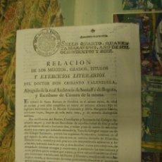 Documentos antiguos: MILITAR. RELACIÓN DE MÉRITOS DE CRISANTO VALENZUELA. COLOMBIA. AÑO 1810.. Lote 58579736