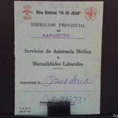 Documentos antiguos: CARNET OBRA SINDICAL 18 DE JULIO. FALANGE. FALANGISTA. FRANQUISTA. FRANCO. CNS . SINDICATO VERTICAL. Lote 58605764