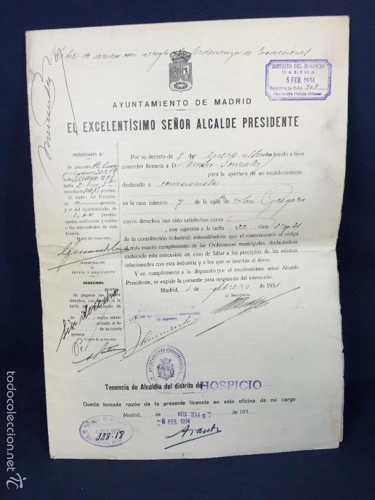 LICENCIA COMISIONISTA AYUNTAMIENTO MADRID DISTRITO HOSPICIO 1934 33X23,5CMS (Coleccionismo - Documentos - Otros documentos)