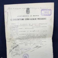 Documentos antiguos: LICENCIA COMISIONISTA AYUNTAMIENTO MADRID DISTRITO HOSPICIO 1934 33X23,5CMS. Lote 58606571