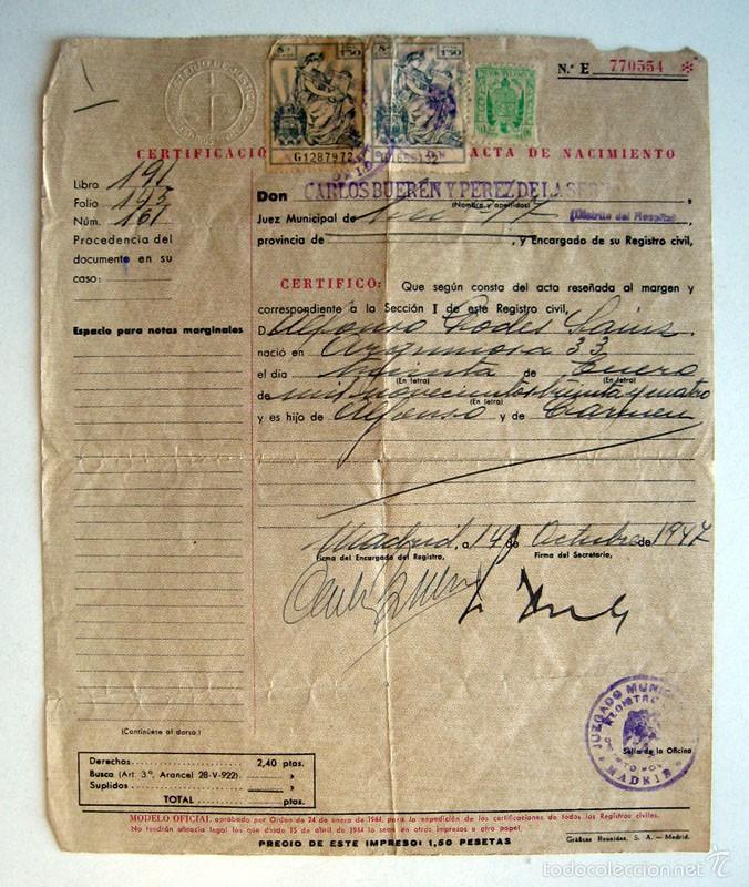 certificaciones de acta de nacimiento antiguas. - Comprar en ...