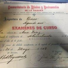 Documentos antiguos: CONSERVATORIO DE MUSICA DECLAMACION HABANA CUBA EXAMEN ASIGNATURA PIANO 2º AÑO 20,5X23,5CMS. Lote 58672467