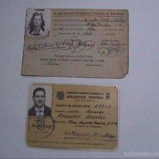 Documentos antiguos: 2 CARNETS. ESCUELA NORMAL MAGISTERIO PRIMARIO BARCELONA 1941 Y BIBLIOTECA CENTRAL 1957.BARCELONA.. Lote 58772101