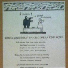Documentos antiguos: POPULART CANTA JANIS JOPLIN UN ORATORIO A KING KONG BARCELONA. Lote 58978085