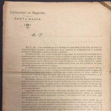 Documentos antiguos: COMUNIDAD DE REGANTES DE SANTA MARIA DE IBI. 1917. CARTA IMPRESA. Lote 59573167