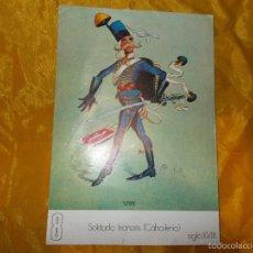 Documentos antiguos: CARICATURA SOLDADO FRANCES ( CABALLERIA) SIGLO XVIII. PUBLICIDAD GLOGAMA ANTITETANICA. Lote 59778324