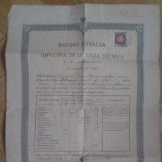 Documentos antiguos: ANTIGUO DOCUMENTO , REINO DE ITALIA, DIPLOMA DE LICENCIA TECNICA, AÑO 1921, MEDIDAS 30 X 42 CM. Lote 59978211