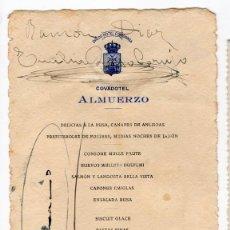 Documentos antiguos: MENU. HOTEL COVADONGA. OVIEDO. ASTURIAS. AGUERIA. 1925. Lote 60026743