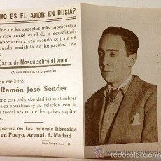 Documentos antiguos: RAMÓN J SENDER. PROMOCIÓN EDITORIAL AÑOS 30. RETRATO DE SENDER JOVEN. IMPRESIÓN EN BITONO. 1934.. Lote 60042583
