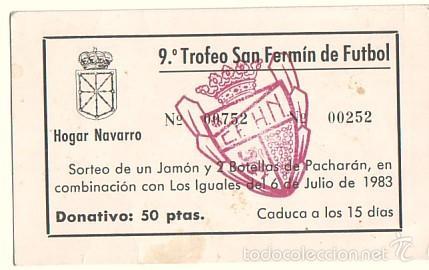 BOLETO DEL SORTEO DE UN JAMÓN. HOGAR NAVARRO DE ZARAGOZA. 1983 (Coleccionismo - Documentos - Otros documentos)