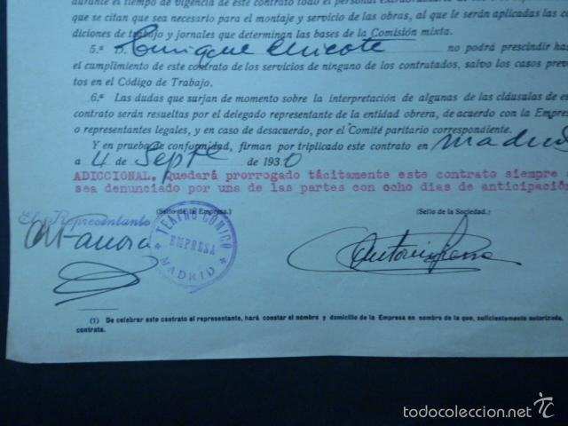Documentos antiguos: CONTRATO COLECTIVO DE TRABAJO POR ENRIQUE CHICOTE COMO EMPRESARIO DEL TEATRO COMICO. AÑO 1930. - Foto 2 - 60094079