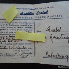 Documentos antiguos: CARNET IDENTIDAD AUXILIO SOCIAL FALANGE JONS CABUERNIGA CANTABRIA SANTANDER GUERRA CIVIL ESPAÑOLA. Lote 60251819