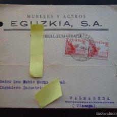 Documentos antiguos: TARJETA POSTAL COMERCIAL METAL MUELLES ACEROS EGUZKIA VILLAREAL URRECHUA URRETXU ZUMARRAGA. Lote 60266055
