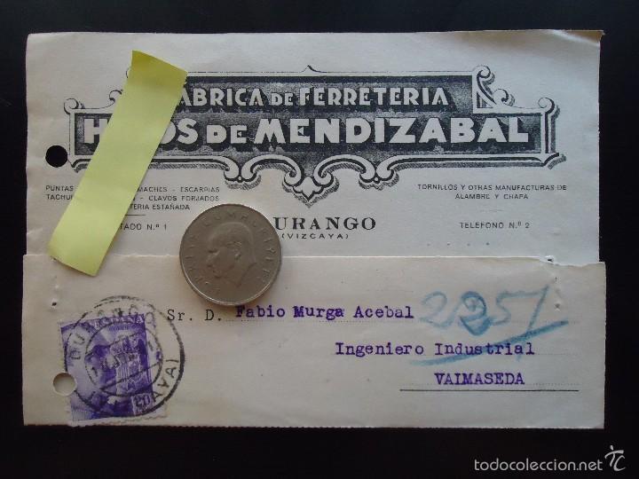 TARJETA POSTAL COMERCIAL FERRETERIA MENDIZABAL DURANGO DURANGUESADO VIZCAYA METAL REMACHES PUNTAS (Coleccionismo - Documentos - Otros documentos)