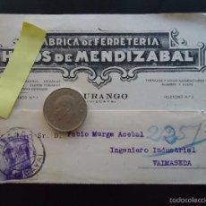 Documentos antiguos: TARJETA POSTAL COMERCIAL FERRETERIA MENDIZABAL DURANGO DURANGUESADO VIZCAYA METAL REMACHES PUNTAS. Lote 60266267