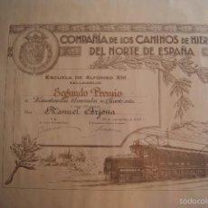 Documentos antiguos: TITULO DIPLOMA COMPAÑIA DE LOS CAMINOS DE HIERRO DEL NORTE DE ESPAÑA 1930. Lote 60276483