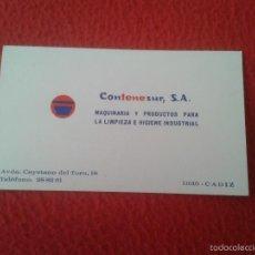 Documentos antiguos: TARJETA DE VISITA CARD PUBLICIDAD PUBLICITARIA O SIMILAR CONTENESUR CADIZ LIMPIEZA MAQUINARIA ETC . Lote 60353923
