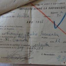 Documentos antiguos: CONJUNTO DE 3 RECIBOS.IMPUESTO SOBRE RADIOAUDICION.SEVILLA.AÑOS 50.. Lote 60369935