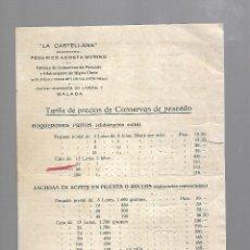 Documentos antiguos: TARIFA DE PRECIOS DE CONSERVAS DE PESCADOS. LA CASTELLANA. FEDERICO ACOSTA MERINO. MALAGA. Lote 60492203