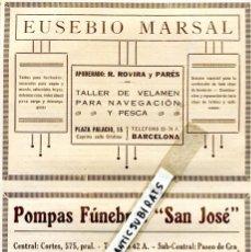 Documentos antiguos: HOJA SUELTA PUBLICIDAD 1926 EUSEBIO MARSAL TOLDOS POMPAS FUNEBRES SAN JOSE . Lote 60669683