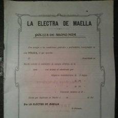 Documentos antiguos: DOCUMENTO DE ALTA DE SUMINISTRO ELECTRICO AÑO 1910 PÓLIZA EN BLANCO. Lote 60690679