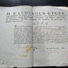 Documentos antiguos: TITULO DE FILOSOFIA AÑO 1835 FIRMADO POR RAYMUNDUS RAMON UTGES Y SELLO ECLESIASTICO. Lote 60836343