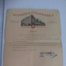 Documentos antiguos: SCHADE & FÜLLGRABE. LEBENSMITTEL FEINKOST. FRANKFURT. 1931. ALEMÁN CARTA RECOMENDACIÓN CON MEMBRETE.. Lote 60873707