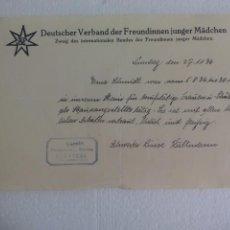 Documentos antiguos: DEUTSCHER VERBAND DER FREUNDINNEN JUNGER MÄDCHEN. NURNBERG. 1936.CARTA DE RECOMENDACIÓN CON MEMBRETE. Lote 60875207