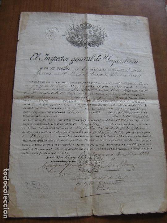 DOCUMENTO INSPECTOR GENERAL DE INFANTERIA FECHADO EN ZARAGOZA EN 1892 - EPOCA DE ALFONSO XII (Coleccionismo - Documentos - Otros documentos)