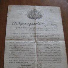 Documentos antiguos: DOCUMENTO INSPECTOR GENERAL DE INFANTERIA FECHADO EN ZARAGOZA EN 1892 - EPOCA DE ALFONSO XII. Lote 61418863