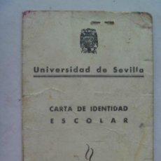 Documentos antiguos: UNIVERSIDAD DE SEVILLA , MEDICINA . CARNET IDENTIDAD ESCOLAR . SEVILLA, 1965 .. Lote 61577564