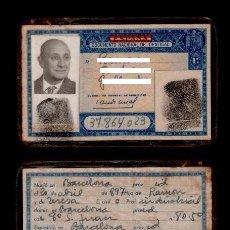 Documentos antiguos: DNI 37.864.023 - C10-2 - CARNET DE IDENTIDAD EXPEDIDO EN BARCELONA EL 2 DE DICIEMBRE DE 1963 PERTE. Lote 61645584