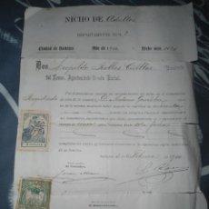 Documentos antiguos: ANTIGUO DOCUMENTO PROPIEDAD NICHO ADULTO BADAJOZ - AÑO 1910. Lote 62390524