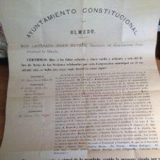 Documentos antiguos: CERTIFICADO DEL AYUNTAMIENTO CONSTITUCIONAL DE - OLMEDO - VALLADOLID. Lote 62393876