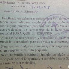 Documentos antiguos: ANTIGUA RECETA PARA DISPENSARIO ANTITUBERCULOSO AÑO 65. Lote 62397978