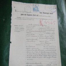 Documentos antiguos: CERTIFICADO DE DEFUNCION, JUZGADO MUNICIPAL DEL DISTRITO DE LA UNIVERSIDAD, BARCELONA 1929. Lote 153938746