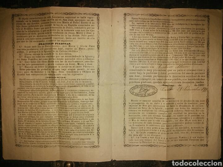 Documentos antiguos: Cédula de afiliación a la Asociación espiritual de devotos GLORIOSO PATRIARCA SAN JOSE Barcelona - Foto 4 - 62483746