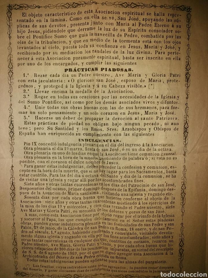 Documentos antiguos: Cédula de afiliación a la Asociación espiritual de devotos GLORIOSO PATRIARCA SAN JOSE Barcelona - Foto 5 - 62483746