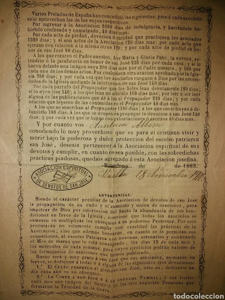 Documentos antiguos: Cédula de afiliación a la Asociación espiritual de devotos GLORIOSO PATRIARCA SAN JOSE Barcelona - Foto 6 - 62483746